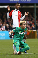 Nathen Colier of Woking and Adalberto Peñaranda of Watford during Woking vs Watford, Emirates FA Cup Football at The Laithwaite Community Stadium on 6th January 2019