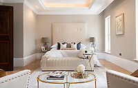 BNPS.co.uk (01202 558833)<br /> Pic: Savills/BNPS<br /> <br /> One of six bedrooms.<br /> <br /> Fairway to Heaven - Hills End has been described as 'a fabulous new masterpiece'. <br /> <br /> This breathtaking brand new mansion only a pitching wedge from one the most exclusive golf clubs in the country has emerged for sale for a whopping £22m.<br /> <br /> Hills End nestles within the prestigious Sunningdale estate in Surrey, home of the £4,000 a year Sunningdale Golf Club which dates back to 1900 and has hosted the Women's British Open and the Senior Open Championship.<br /> <br /> The newly-built property sits on a 1.75 acre plot  boasting six bedrooms, eight reception areas, a swimming pool complex with spa, sauna and yoga rooms along with a large cinema. and walk in wardrobes.<br /> <br /> The incredible Palladian style home is on the market with estate agents Savills who describe it as 'a fabulous new masterpiece'...that comes with a whopping £22 million price tag.