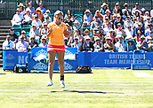June 18th 2017, Nottingham, England;WTA Aegon Nottingham Open Tennis Tournament day 6; Storm Sanders of Australia jumps for joy as she and her partner Monique Adamczak of Australia win the Ladies Doubles final against Jocelyn Rae and Laura Robson of Great Britain