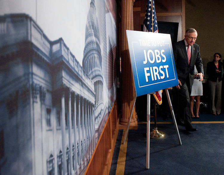 UNITED STATES - JUNE 22: Senate Majority Leader Harry Reid, D-Nev., arrives for the Senate Democrats' news conference on jobs on Wednesday, June 22, 2011. (Photo By Bill Clark/Roll Call)