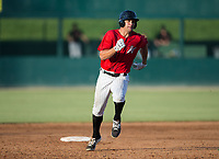 Aaron Schnurbusch (21) of the Kannapolis Intimidators rounds second base during the game against the Delmarva Shorebirds at Kannapolis Intimidators Stadium on July 2, 2017 in Kannapolis, North Carolina.  The Shorebirds defeated the Intimidators 5-4.  (Brian Westerholt/Four Seam Images)