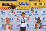 Toms Skujins (LAT) Trek-Segafredo retains the Polka Dot Jersey at the end of Stage 9 of the 2018 Tour de France running 156.5km from Arras Citadelle to Roubaix, France. 15th July 2018. <br /> Picture: ASO/Pauline Ballet | Cyclefile<br /> All photos usage must carry mandatory copyright credit (&copy; Cyclefile | ASO/Pauline Ballet)
