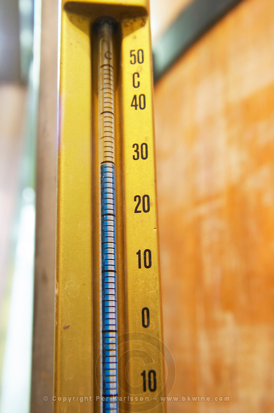 thermometer on fermentation vat dom du vieux telegraphe chateauneuf du pape rhone france