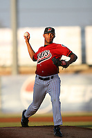 July 30 2008: Anthony Varvaro of the High Desert Mavericks pitches against the Lake Elsinore Storm at Mavericks Stadium in Adelanto,CA.  Photo by Larry Goren/Four Seam Images