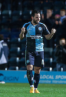 goalscorer Sam Wood of Wycombe Wanderers on the final whistle during the Sky Bet League 2 match between Wycombe Wanderers and Crawley Town at Adams Park, High Wycombe, England on 28 December 2015. Photo by Andy Rowland / PRiME Media Images