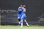 04 September 2011: UCSB's David Opoku (GHA) (18) celebrates his goal with Sam Garza (17). The University of California Santa Barbara Broncos defeated the North Carolina State University Wolfpack 1-0 at Koskinen Stadium in Durham, North Carolina in an NCAA Division I Men's Soccer game.