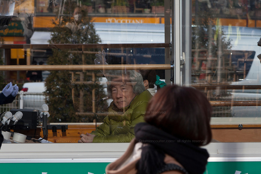 Former Prime-Minster of Japan, Junichiro Koizumi arrives in the campaign bus while electioneering for Morihiro Hosokawa in the 2014 Tokyo Gubernatorial elections in Shibuya, Tokyo, Japan. Friday February 7th 2014