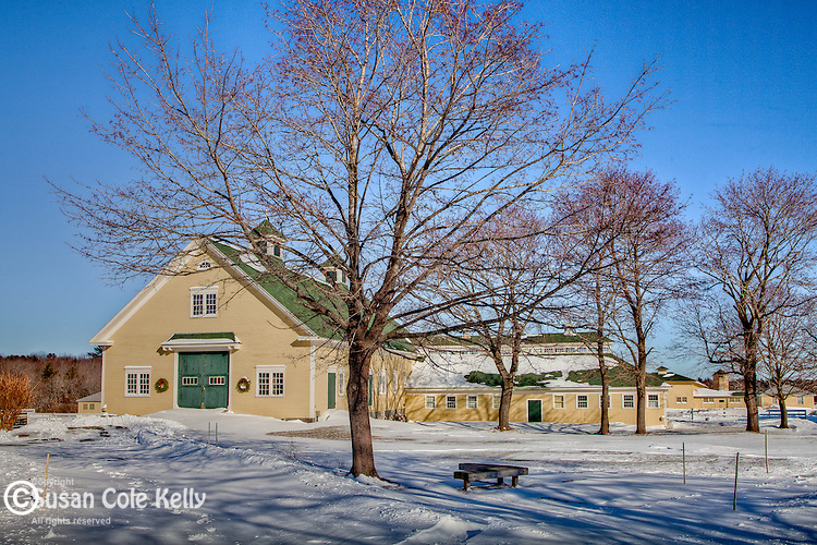 Fresh snow at Laudholm Farm  in Wells, ME, USA