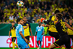 09.08.2019, Merkur Spiel-Arena, Düsseldorf, GER, DFB Pokal, 1. Hauptrunde, KFC Uerdingen vs Borussia Dortmund , DFB REGULATIONS PROHIBIT ANY USE OF PHOTOGRAPHS AS IMAGE SEQUENCES AND/OR QUASI-VIDEO<br /> <br /> im Bild | picture shows:<br /> Marwin Hitz (Borussia Dortmund #35) klaert vor Roberto Rodriguez (KFC Uerdingen #11), <br /> <br /> Foto © nordphoto / Rauch