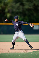 GCL Yankees West third baseman Luis Santos (2) throws to first base during a game against the GCL Pirates on August 2, 2018 at Pirate City Complex in Bradenton, Florida.  GCL Pirates defeated GCL Yankees West 6-2.  (Mike Janes/Four Seam Images)