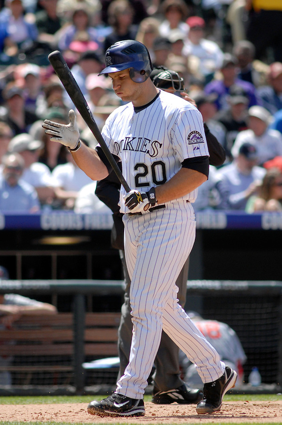 Rockies catcher Chris Iannetta is frustrated after striking out during an interleague game against the Minnesota Twins at Coors Field in denver, Colorado on May 18, 2008.