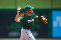 Daytona Tortugas shortstop Blake Trahan (7) throws to first during a game against the Clearwater Threshers on April 20, 2016 at Bright House Field in Clearwater, Florida.  Clearwater defeated Daytona 4-2.  (Mike Janes/Four Seam Images)