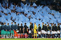 Manchester City fans display flags as the players line-up banner ahead of kick-off at The Etihad Stadium<br /> <br /> Photographer Rich Linley/CameraSport<br /> <br /> UEFA Champions League - Quarter-finals 2nd Leg - Manchester City v Tottenham Hotspur - Wednesday April 17th 2019 - The Etihad - Manchester<br />  <br /> World Copyright © 2018 CameraSport. All rights reserved. 43 Linden Ave. Countesthorpe. Leicester. England. LE8 5PG - Tel: +44 (0) 116 277 4147 - admin@camerasport.com - www.camerasport.com