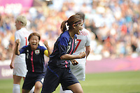 25.07.2012 Coventry, England.Nahomi KAWASUMI (Japan) celebrates as she scores the first goal for Japan during the Olympic Football Women's Preliminary game between Japan and Canada from the City of Coventry Stadium