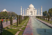 Agra, India.  Taj Mahal and Fountain.
