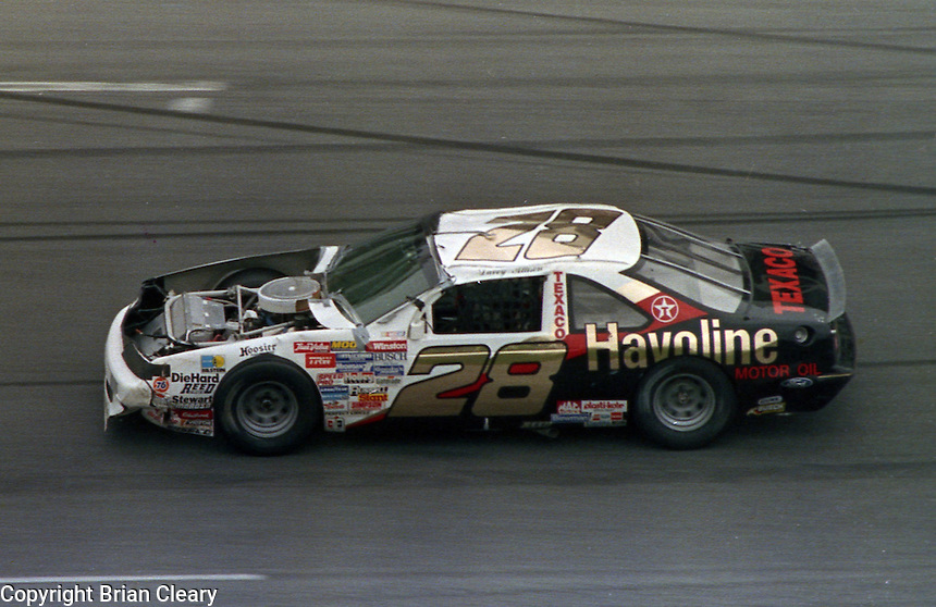 Davey Allison damaged race car after crash Daytona 500 at Daytona International Speedway on February 19, 1989.  (Photo by Brian Cleary/www.bcpix.xom)