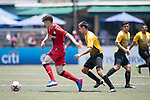 Bayer Leverkusen (in red) vs Singapore Cricket Club (in yellow), during their Main Tournament match, part of the HKFC Citi Soccer Sevens 2017 on 27 May 2017 at the Hong Kong Football Club, Hong Kong, China. Photo by Marcio Rodrigo Machado / Power Sport Images