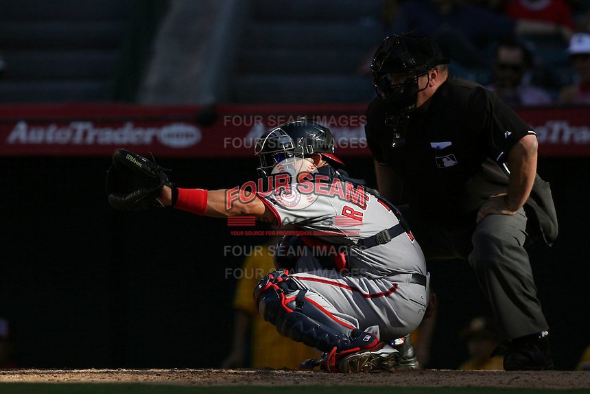 Washington Nationals catcher Ivan Rodriguez #7 during a game against the Los Angeles Angels at Angel Stadium on June 29, 2011 in Anahein,California. (Larry Goren/Four Seam Images)