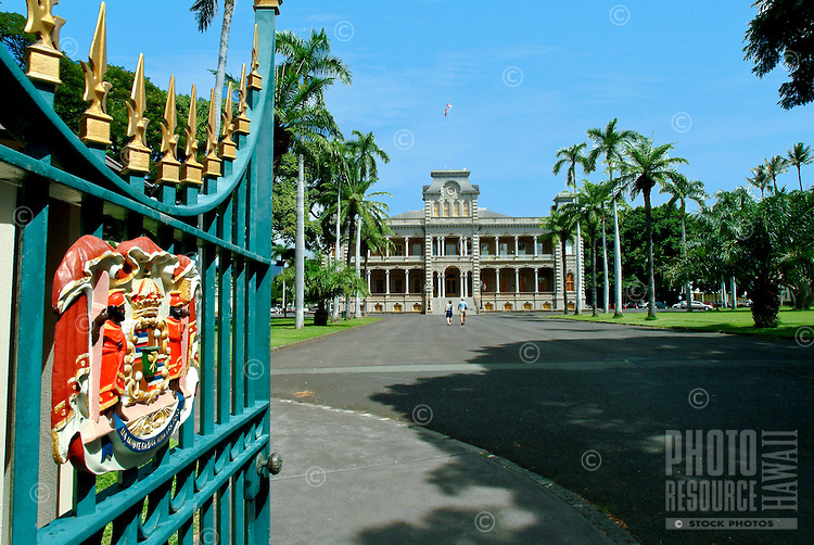 Front gate with the seal of royalty leading to the grounds of Iolani Palace.