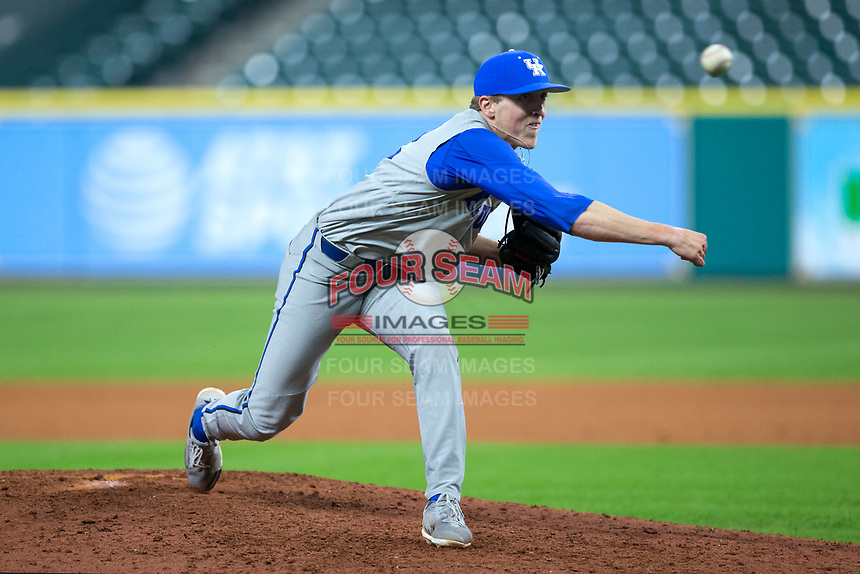 Kentucky Wildcats relief pitcher Alec Maley (12) delivers a pitch to the plate against the Houston Cougars in game two of the 2018 Shriners Hospitals for Children College Classic at Minute Maid Park on March 2, 2018 in Houston, Texas.  The Wildcats defeated the Cougars 14-2 in 7 innings.   (Brian Westerholt/Four Seam Images)
