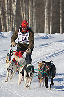 Musher Mike Motsenbocher, 2007 Limited North American Championship Sled dog race in Fairbanks, Alaska.