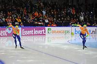 SCHAATSEN: HEERENVEEN: IJsstadion Thialf, 18-11-2012, Essent ISU World Cup, Season 2012-2013,  Division A 500m, Marrit Leenstra, Margot Boer (links), ©foto Martin de Jong