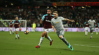 West Ham United's Andy Carroll and Manchester United's Luke Shaw<br /> <br /> Photographer Rob Newell/CameraSport<br /> <br /> The Premier League - West Ham United v Manchester United - Thursday 10th May 2018 - London Stadium - London<br /> <br /> World Copyright &copy; 2018 CameraSport. All rights reserved. 43 Linden Ave. Countesthorpe. Leicester. England. LE8 5PG - Tel: +44 (0) 116 277 4147 - admin@camerasport.com - www.camerasport.com