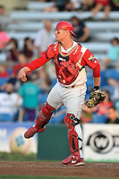 Williamsport Crosscutters catcher Sean McHugh (21) throws down to second in between innings during a game against the Aberdeen IronBirds on August 4, 2014 at Bowman Field in Williamsport, Pennsylvania.  Aberdeen defeated Williamsport 6-3.  (Mike Janes/Four Seam Images)