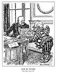 """Flor de Victoria. """"Many happy returns, sir!"""" (Mr Punch hands Churchill a box of cigars as a gift from Roosevelt and Stalin as he sits at his desk in Downing Street)"""