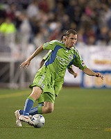 Seattle Sounders forward Nate Jaqua (21) dribbles. The New England Revolution defeated Seattle Sounders, 2-1, at Gillette Stadium on September 26, 2009.
