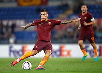 Calcio, Europa League, Gguppo E: Roma vs Austria Vienna. Roma, stadio Olimpico, 20 ottobre 2016.<br /> Roma's Leandro Paredes kicks the ball during the Europa League Group E soccer match between Roma and Austria Wien, at Rome's Olympic stadium, 20 October 2016. The game ended 3-3.<br /> UPDATE IMAGES PRESS/Isabella Bonotto