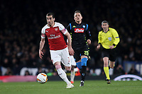 Henrikh Mkhitaryan of Arsenal races upfield during Arsenal vs Napoli, UEFA Europa League Football at the Emirates Stadium on 11th April 2019