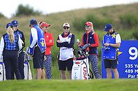 Lexi Thompson & Jessica Korda of Team USA on the 9th tee during Day 1 Fourball at the Solheim Cup 2019, Gleneagles Golf CLub, Auchterarder, Perthshire, Scotland. 13/09/2019.<br /> Picture Thos Caffrey / Golffile.ie<br /> <br /> All photo usage must carry mandatory copyright credit (© Golffile | Thos Caffrey)
