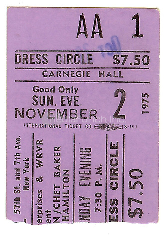NEW YORK, NY - NOVEMBER 2: Ticket Stub of Chico Hamilton Gerry Mulligan and Chet Baker performing at Carnegie Hall in New York City on November 2, 1975. Credit: Arturo Santos/MediaPunch