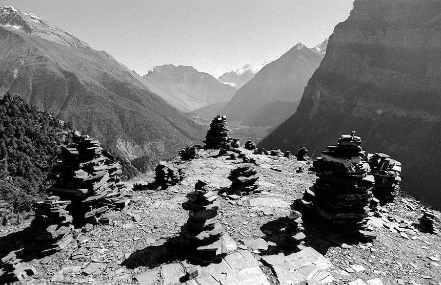 Chortens cap a ridge in the Annaupurna Himal, Nepal, 2008. Photo: Ed Giles.
