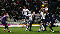 Preston North End's Andrew Hughes heads at goal<br /> <br /> Photographer Andrew Kearns/CameraSport<br /> <br /> The EFL Sky Bet Championship - Preston North End v Derby County - Friday 1st February 2019 - Deepdale Stadium - Preston<br /> <br /> World Copyright © 2019 CameraSport. All rights reserved. 43 Linden Ave. Countesthorpe. Leicester. England. LE8 5PG - Tel: +44 (0) 116 277 4147 - admin@camerasport.com - www.camerasport.com