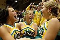 From left, Lynden cheerleaders Andrea Hodgins, Stephanie DeZeeuw and Bridget Isaacs celebrate Lynden's narrow win over Burlington-Edison at Mount Vernon on February 24, 2007.   Lynden was tied against Burlington-Edison, when Brady Bomber scored with 1.7 seconds remaining to win, 51-49. The game was Lynden's most narrow victory of the season..