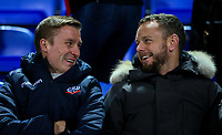 Former Bolton Wanderers players Jay Spearing and Stephen Darby share a joke before the match<br /> <br /> Photographer Alex Dodd/CameraSport<br /> <br /> The EFL Sky Bet Championship - Bolton Wanderers v West Bromwich Albion - Monday 21st January 2019 - University of Bolton Stadium - Bolton<br /> <br /> World Copyright © 2019 CameraSport. All rights reserved. 43 Linden Ave. Countesthorpe. Leicester. England. LE8 5PG - Tel: +44 (0) 116 277 4147 - admin@camerasport.com - www.camerasport.com