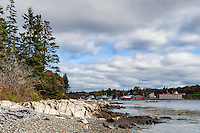 Rocky beach overbooking Bass Harbor, Maine, USA