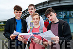 Marko Krstic, John O'Mahony, Krystian Lewandowski and Rory O'Connor, all from Tralee, who received their Leaving Certificate results at Mercy Mounthawk Secondary School, Tralee, on Tuesday morning last.
