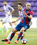 Real Valladolid's Michel Herrero (l) and Levante UD's Natxo Insa during La Liga Second Division match. March 11,2017. (ALTERPHOTOS/Acero)