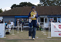 Kelly Castle of Essex walks out to open during Upminster CC vs Essex CCC, Benefit Match Cricket at Upminster Park on 8th September 2019