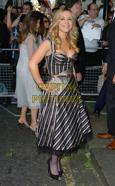 HEIDI RANGE - SUGABABES.Arrivals - The Glamour Magazine 3rd Annual Women Of The Year Awards, Berkeley Square, London, England, .June 6th 2006..full length black and grey straiped dress gold belt hand on hip tights.Ref: CAN.www.capitalpictures.com.sales@capitalpictures.com.©Can Nguyen/Capital Pictures