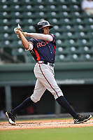 Third baseman Kurt Hoekstra (16) of the Rome Braves bats in game one of a doubleheader against the Greenville Drive on Tuesday, May 30, 2017, at Fluor Field at the West End in Greenville, South Carolina. Rome won, 10-7. (Tom Priddy/Four Seam Images)