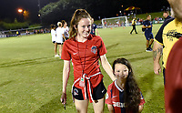 BOYDS, MD - JULY 20: Washington Spirit midfielder Rose Lavelle (10) poses for a photo with a young girl named Rose Lavelle after the National Women's Soccer League (NWSL) game between the Houston Dash and Washington Spirit July 20, 2019 at Maureen Hendricks Field at Maryland SoccerPlex in Boyds, MD. (Photo by Randy Litzinger/Icon Sportswire)