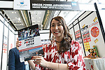 A booth assistant poses for a photograph during the first day of AnimeJapan 2017 at Tokyo Big Sight on March 23, 2017, Tokyo, Japan. AnimeJapan 2017 is a trade show promoting ''Everything Anime'' to local and foreign fans and businesses. The show is held over four-day days with March 23-24 reserved for business visitors and March 25-26 for the public. It is expected to attract some 120,000 visitors, including many cosplayers. (Photo by Rodrigo Reyes Marin/AFLO)