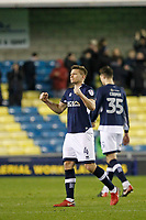 Shaun Hutchinson of Millwall celebrates the 3 points during the Sky Bet Championship match between Millwall and Sheff Wednesday at The Den, London, England on 20 February 2018. Photo by Carlton Myrie.