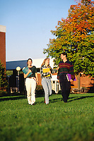 College students walking from class in Fall colors at Northern Universit