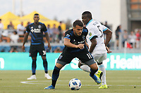San Jose, CA - Wednesday July 25, 2018: Vako, Nouhou during a Major League Soccer (MLS) match between the San Jose Earthquakes and the Seattle Sounders FC at Avaya Stadium.