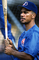 Moises Alou of the Montreal Expos at Dodger Stadium in Los Angeles,California during the 1996 season. (Larry Goren/Four Seam Images)